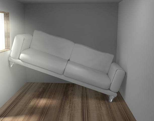 Space problems in the too small living room Platzprobleme im zu kleinen Wohnzimmer 3d render narrow stock pictures, royalty-free photos & images