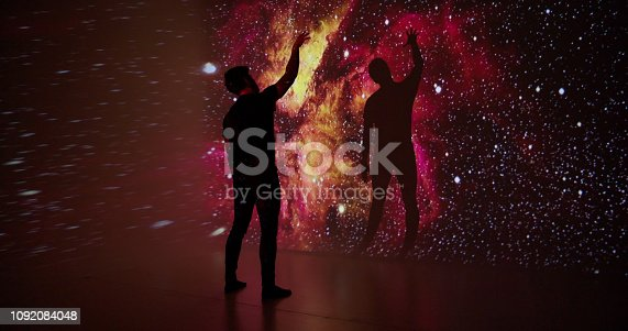 Space projection upon a young man.