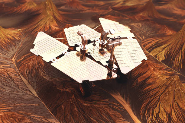 Space Research. Mars Rover. NASA imagery Rover on planet surface. Space mission rover stock pictures, royalty-free photos & images
