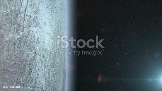 Satellite orbiting near moon Europa. CG image.