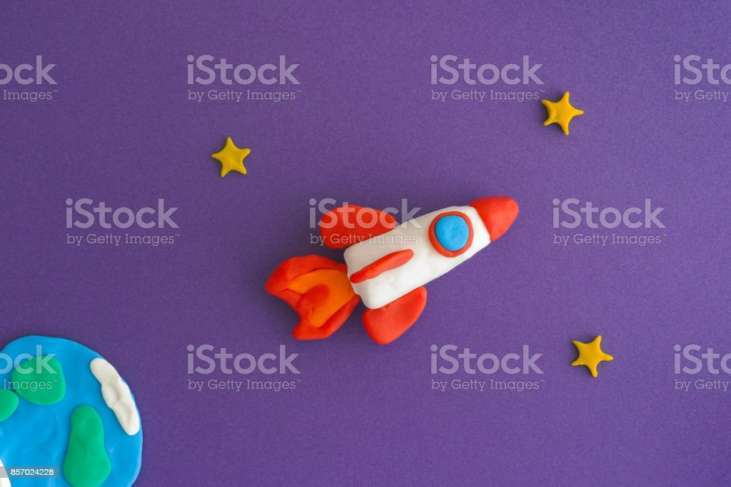 Space Rocket Blasting Off For New Ideas stock photo