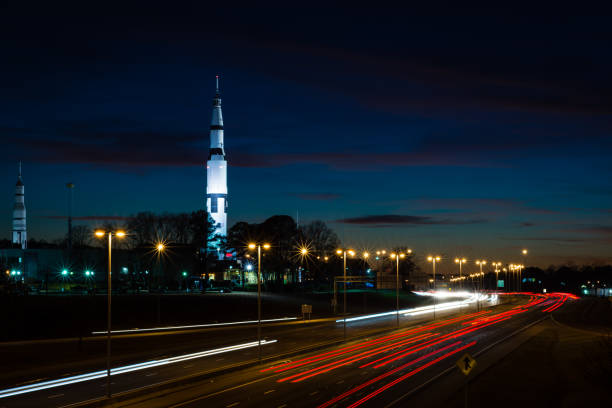 US Space & Rocket Center The view of The Space & Rocket Center in Huntsville, Alabama just after sunset. alabama stock pictures, royalty-free photos & images