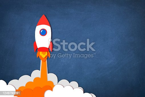 Start up concept with space rocket