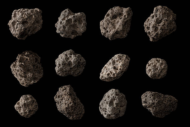 Space Rocks! Asteroids?  Meteors?  Moon rocks?  You decide!  Huge captures isolated on pure black for ease of use and integration into your design.  Shields up!  Here come the space rocks! rock object stock pictures, royalty-free photos & images