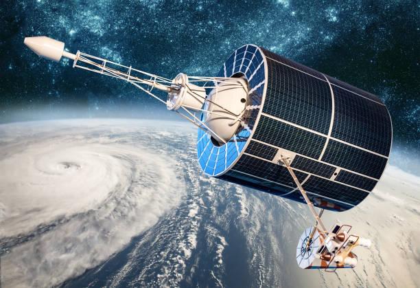Raum Satellitenüberwachung von Earth Orbit Wetter aus dem Weltraum, Hurrikan, Taifun auf dem Planetenerde. – Foto