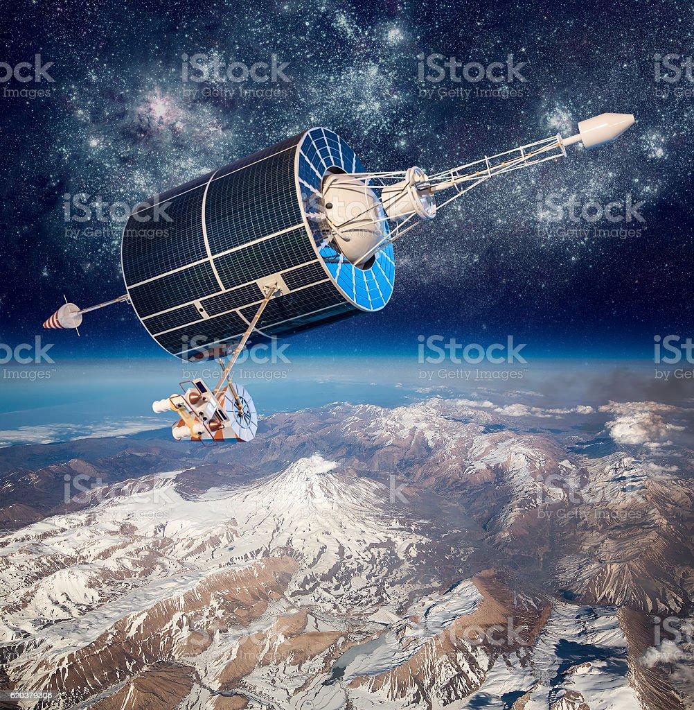 Do satélite espacial, sobre o planeta Terra foto de stock royalty-free