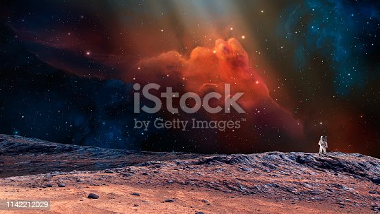 Space scene. Astronaut on planet with colorful nebula. https://mars.nasa.gov/resources/7485/hinners-point-above-floor-of-marathon-valley-on-mars-enhanced-color/  https://nssdc.gsfc.nasa.gov/imgcat/html/object_page/a11_h_40_5903.html
