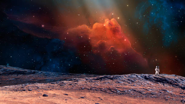 Space scene. Astronaut on planet with colorful nebula. https://mars.nasa.gov/resources/7485/hinners-point-above-floor-of-marathon-valley-on-mars-enhanced-color/  https://nssdc.gsfc.nasa.gov/imgcat/html/object_page/a11_h_40_5903.html Space scene. Astronaut on planet with colorful nebula. https://mars.nasa.gov/resources/7485/hinners-point-above-floor-of-marathon-valley-on-mars-enhanced-color/  https://nssdc.gsfc.nasa.gov/imgcat/html/object_page/a11_h_40_5903.html planet space stock pictures, royalty-free photos & images