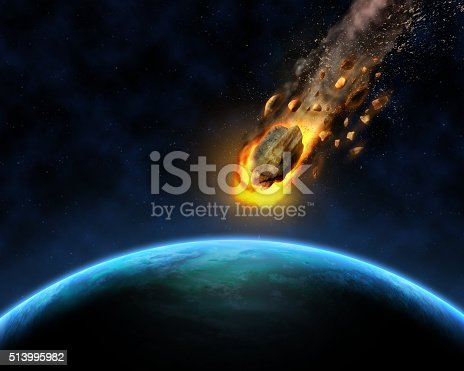 istock 3D space scene background with rocks hurtling towards a fictiona 513995982
