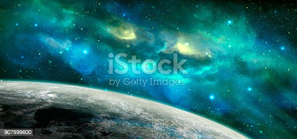 istock Space scene. Blue and green nebula with planet. https://nasa3d.arc.nasa.gov/detail/as10-34-5013 907999600