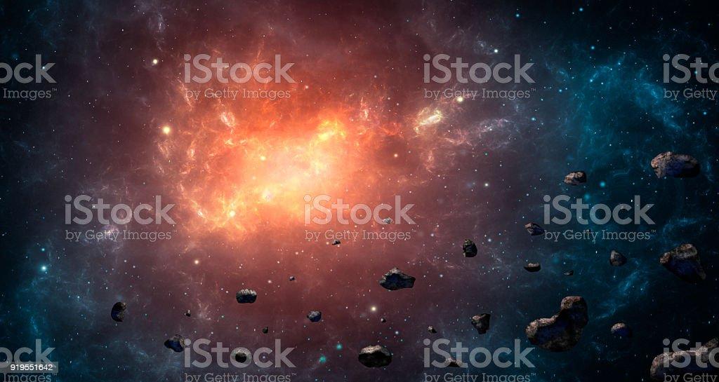 Raum-Szene. Blau und orange Nebel mit Asteroiden. https://www.NASA.gov/Multimedia/imagegallery/image_feature_1925.HTML – Foto