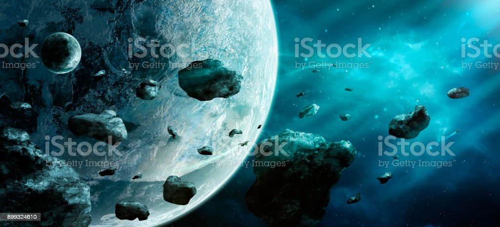 Space scene. Blue nebula with asteroids and two planet. https://nasa3d.arc.nasa.gov/detail/plu1rss1 stock photo