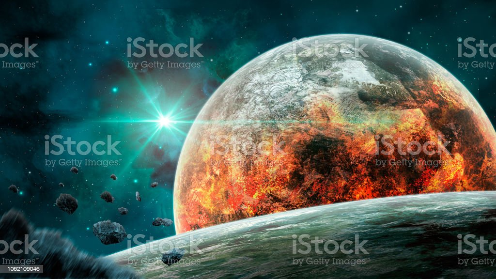 Space scene. Blue nebula with planet in fire and asteroids. https://images.nasa.gov/details-sts059-s-026.html https://maps.jpl.nasa.gov/pix/ven0aaa2.jpg stock photo
