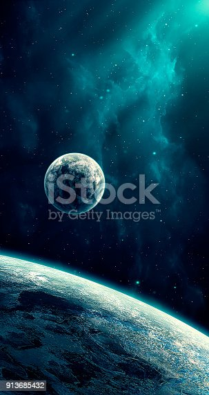 istock Space scene. Blue nebula with planet. https://nasa3d.arc.nasa.gov/detail/as10-34-5013 913685432