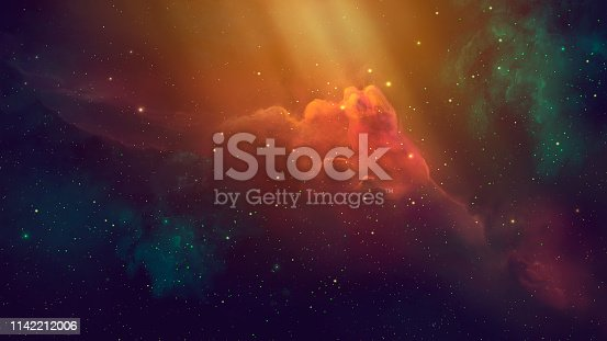 istock Space scene. Coloful nebula with starfield. Digital hand painted 1142212006