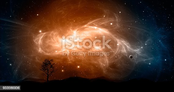 istock Space scene. Orange and blue nebula with planet and tree, land silhouette. http://chamorrobible.org/gpw/gpw-20061021.htm 933586936