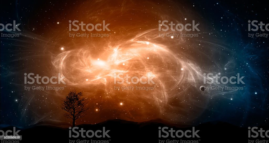 Space scene. Orange and blue nebula with planet and tree, land silhouette. http://chamorrobible.org/gpw/gpw-20061021.htm stock photo