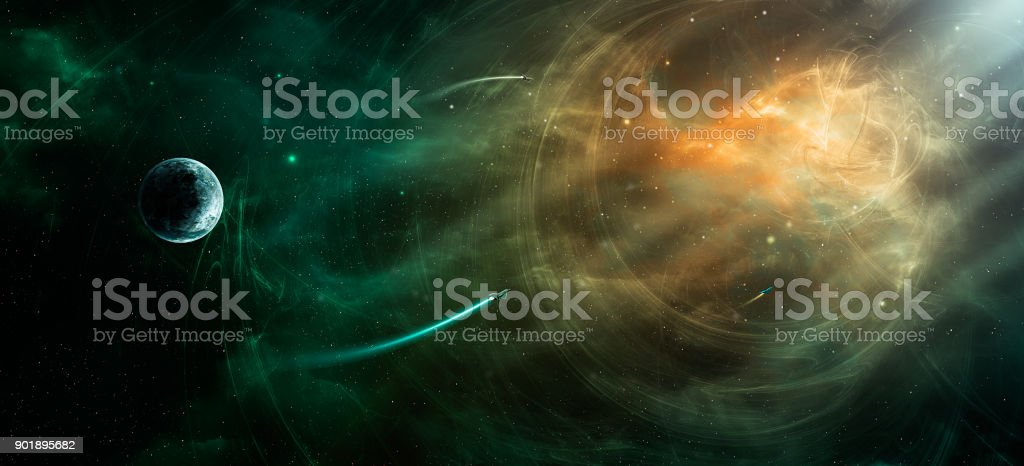 Space scene. Orange and green nebula with planet and spaceships. https://nasa3d.arc.nasa.gov/detail/jup2vss2 stock photo