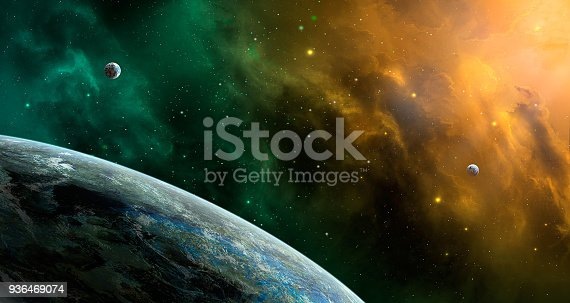 istock Space scene. Orange and green nebula with planets. http://chamorrobible.org/gpw/gpw-20061021.htm 936469074