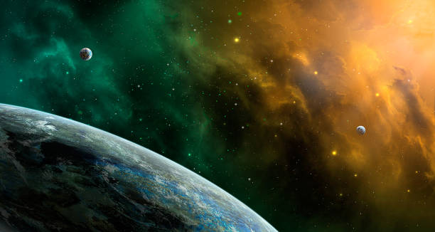 space scene. orange and green nebula with planets. http://chamorrobible.org/gpw/gpw-20061021.htm - planet space stock pictures, royalty-free photos & images
