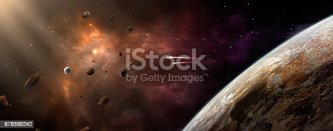 istock Space scene. Orange and violet nebula with planet and spaceship. https://nasa3d.arc.nasa.gov/detail/ven0aaa2 878395242
