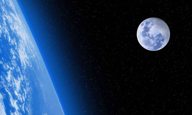 Space Scene - Planet Earth and Moon in Outer Space  - Copy Space stock photo