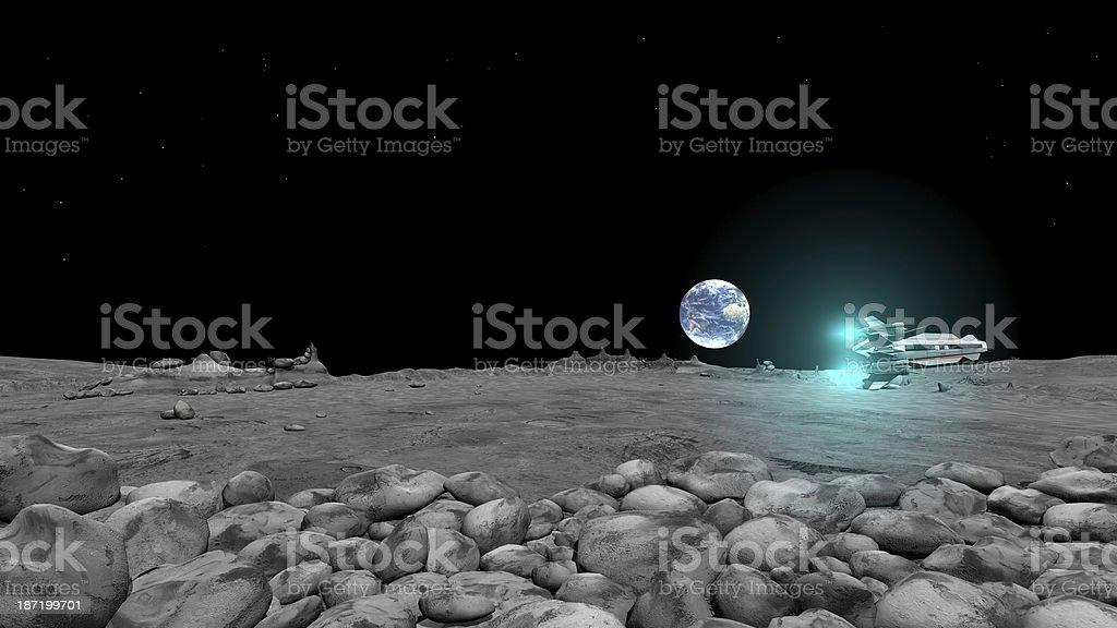 Spaceshuttles Flug auf moon surface - Lizenzfrei Entdeckung Stock-Foto
