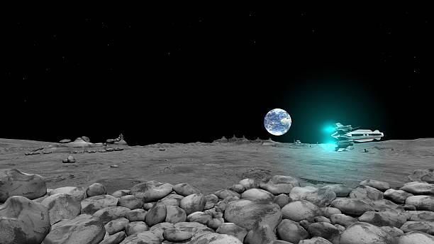 Spaceshuttles Flug auf moon surface – Foto
