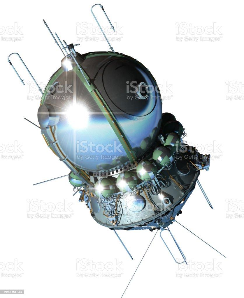 Space ship Vostok isolated on white background stock photo