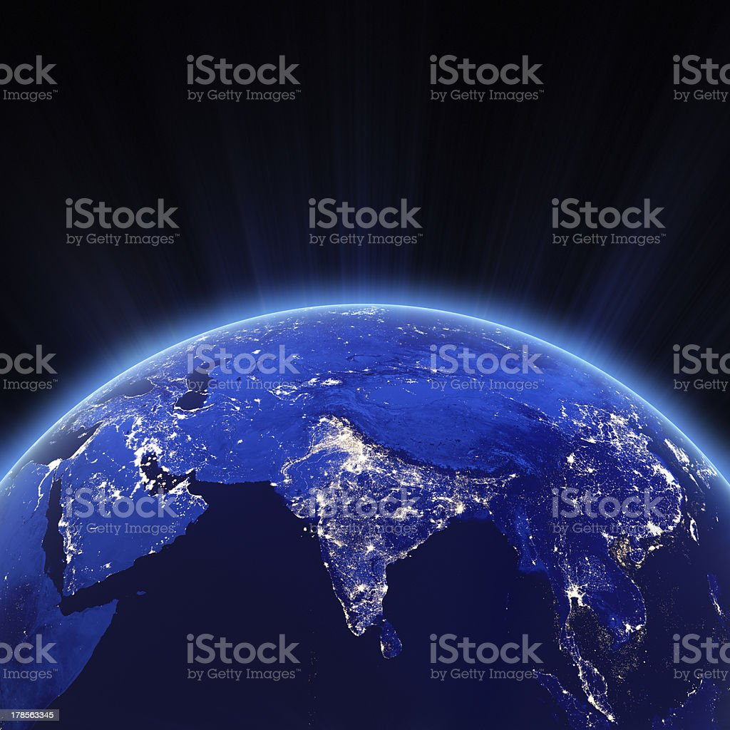 Space shot of earth focusing on indias city lights at night stock space shot of earth focusing on indias city lights at night royalty free stock photo gumiabroncs Image collections