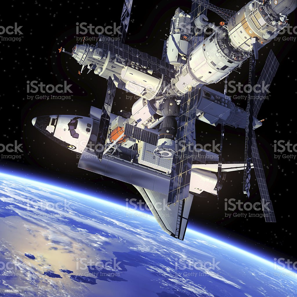 Space Shuttle And Space Station stock photo