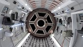 Space Shuttle cabin. Space Shuttle flying in deep space