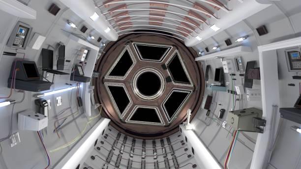 rymd färjan stuga. rymd färjan flyger i rymden. 3d-rendering - teleport bildbanksfoton och bilder