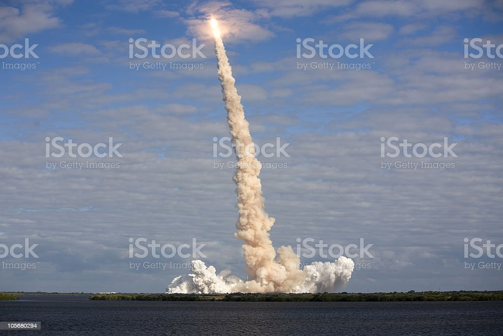NASA STS-129 Space Shuttle cloud burst stock photo