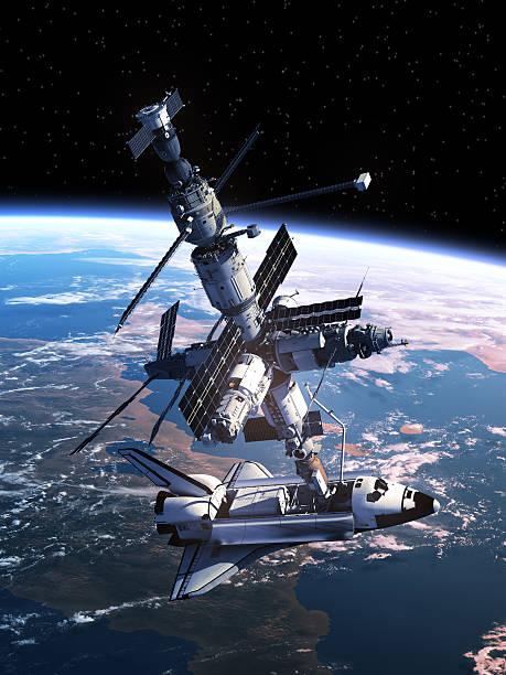 space shuttle-dockingstation mit space station - mondlandefähre stock-fotos und bilder