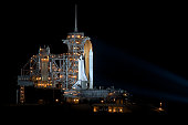 Space Shuttle Endeavour waiting to launch on mission STS-130. At night on launchpad 39A about 7 hours before liftoff from NASA's Kennedy Space Center at Cape Canaveral Air Force Station.