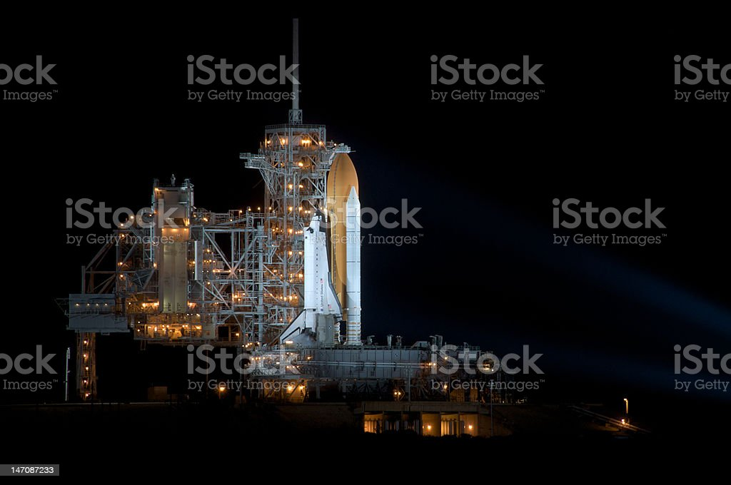 Space Shuttle Endeavour at night on Launchpad 39A stock photo