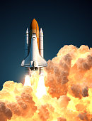 Space Shuttle In The Clouds Of Fire. 3D Illustration.