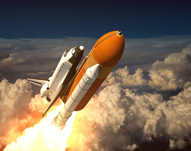 space shuttle in den wolken - kennedy space center stock-fotos und bilder