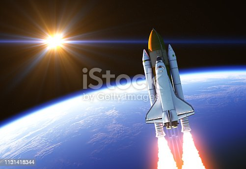 Space Shuttle In The Rays Of Sun. 3D Illustration. NASA Images Not Used.