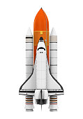 Space Shuttle isolated on white background. 3D render