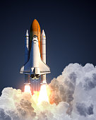 Space Shuttle Launch On Blue Background. 3D Illustration.