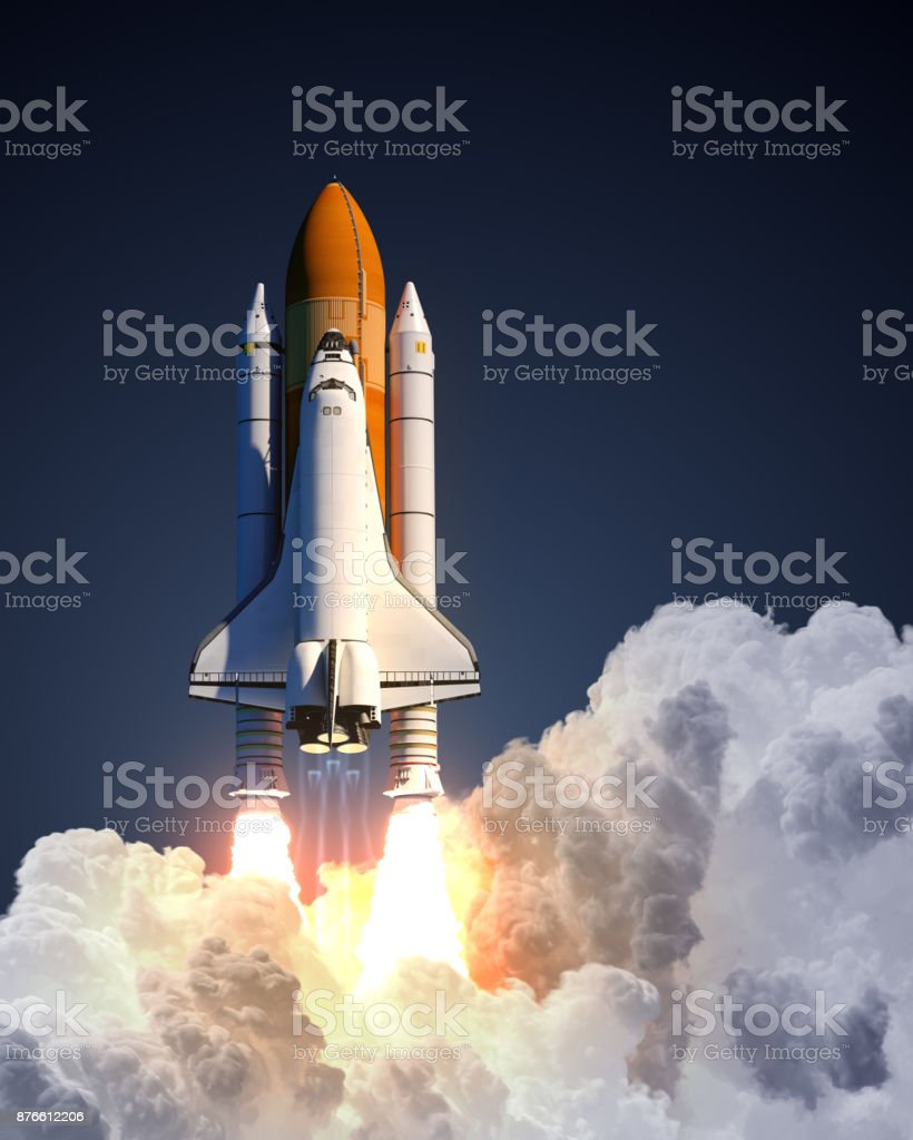 Space Shuttle Launch On Blue Background stock photo