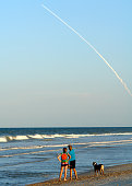 The launch of the Space Shuttle as seen from Ponte Vedra Beach, Florida. PVB is about 70 miles north of the launch site.