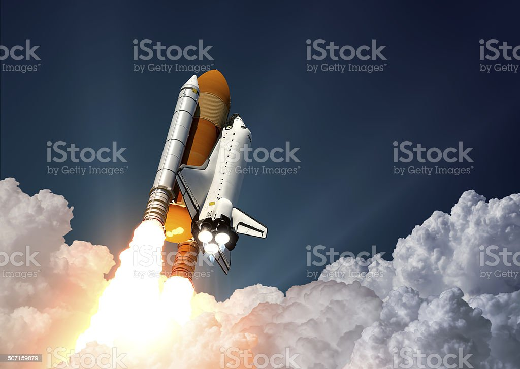 Space Shuttle Launch Space Shuttle Launch. 3D Scene. Adventure Stock Photo