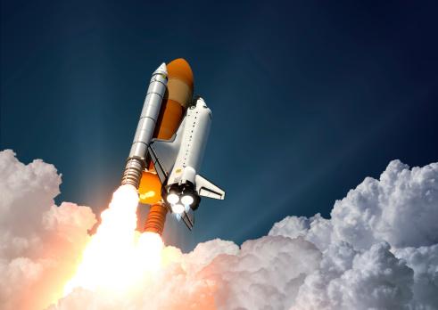 Space Shuttle Launch. 3D Scene.
