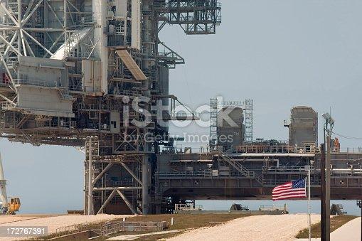 close-up of a NASA space shuttle launch platform