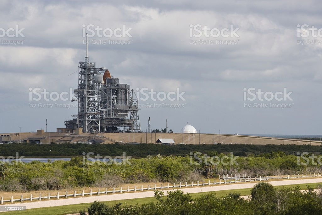 Space shuttle on the launch pad stock photo