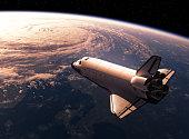 Space Shuttle Orbiting Earth. 3D Scene.