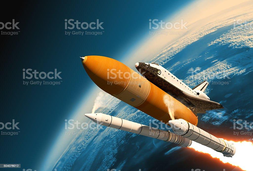 Space Shuttle Einfarbige Rocket Organe Trennung im Stratosphere – Foto